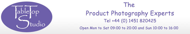Table Top Studio Banner - The Product Photography Experts Tel +44 (0) 1451 820425