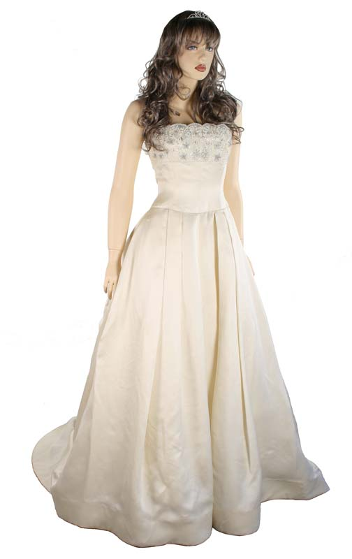 Mannequin wearing wedding dress