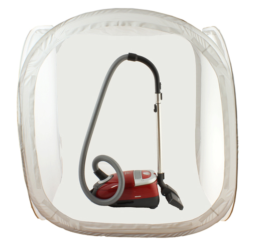 SimplyFoto Light Tent Cube 120cm containing vacuum cleaner