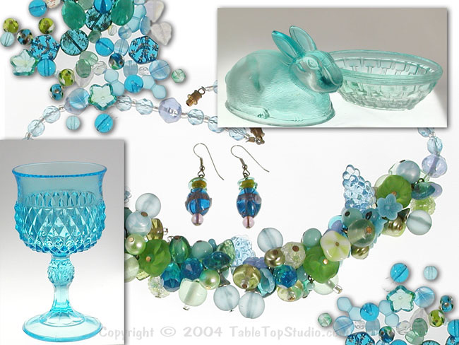 Montage of glass and jewellery photography